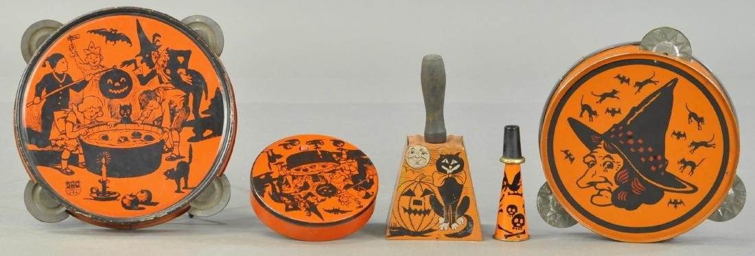 FIVE TIN LITHO HALLOWEEN NOISE MAKERS