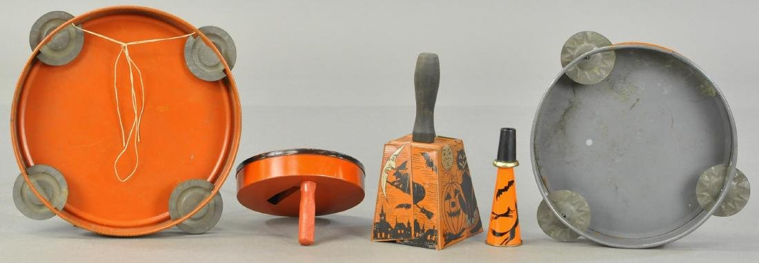 FIVE TIN LITHO HALLOWEEN NOISE MAKERS - 2