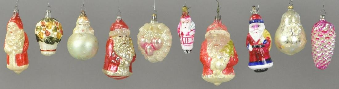 GROUPING OF TEN GERMAN GLASS ORNAMENTS