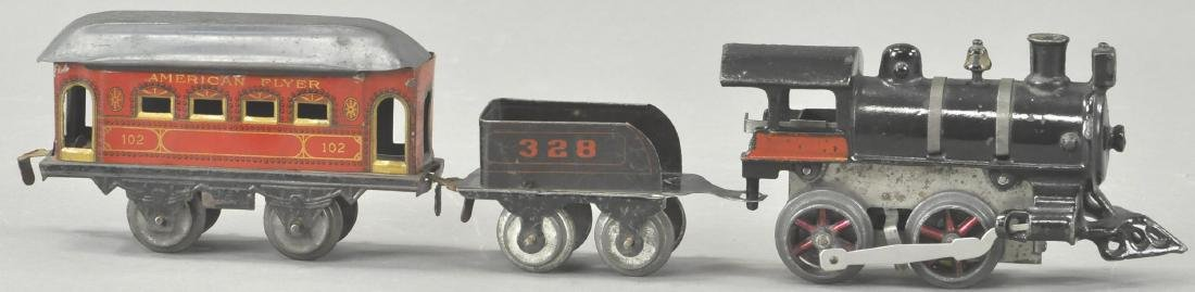 EARLY AMERICAN FLYER WIND-UP LOCOMOTIVE & PASSENGE