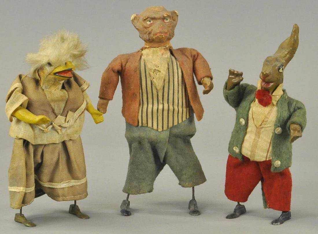 THREE GERMAN COMPOSITION ANIMAL WALKERS