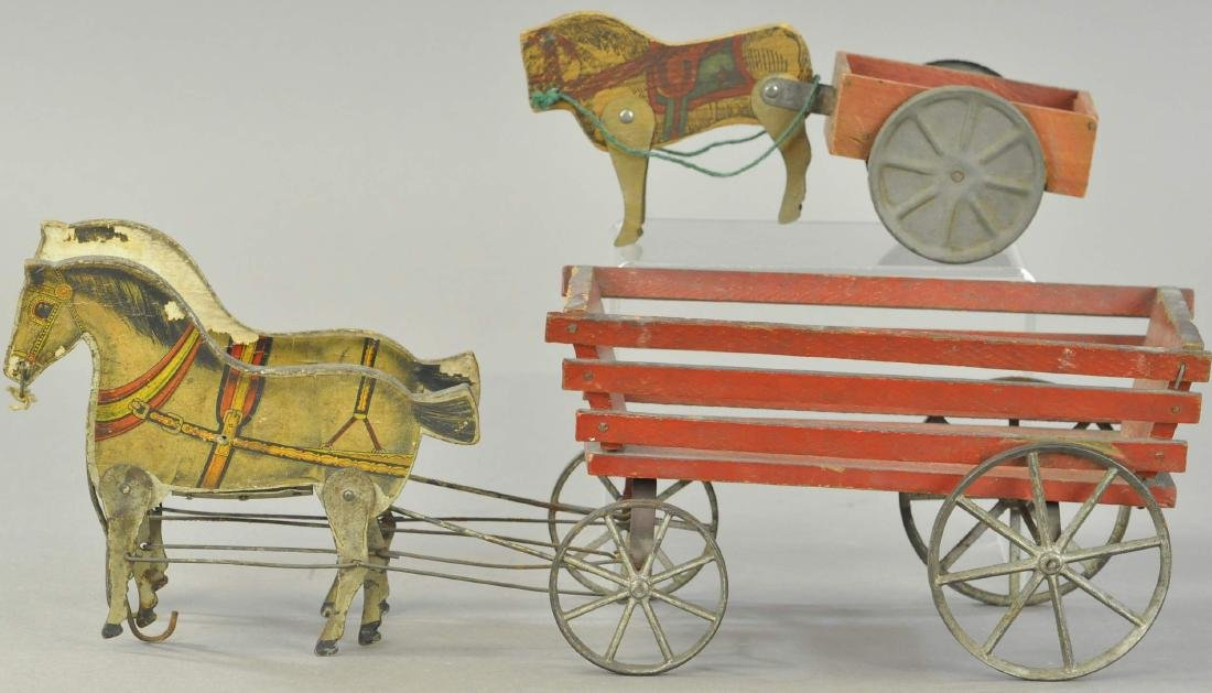 PAIR OF GIBBS WOODEN HORSE WAGONS