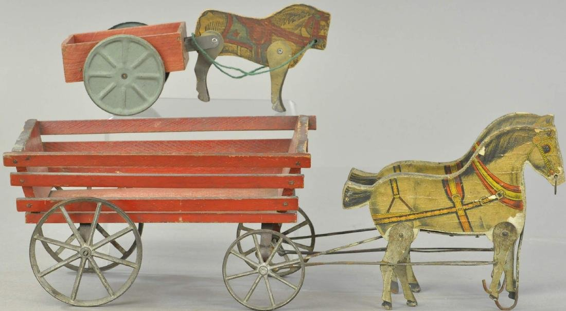 PAIR OF GIBBS WOODEN HORSE WAGONS - 2