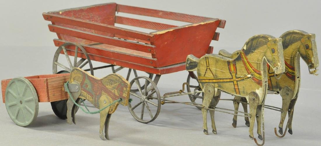 PAIR OF GIBBS WOODEN HORSE WAGONS - 3