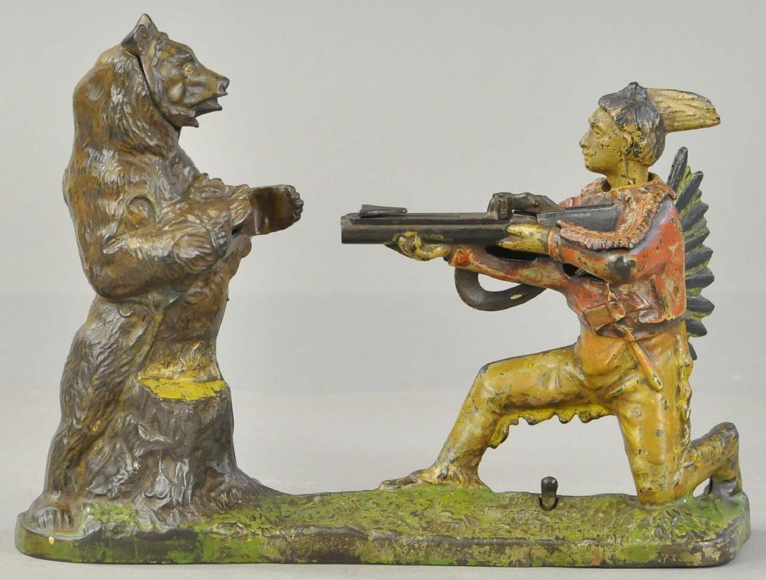 INDIAN SHOOTING BEAR MECHANICAL BANK