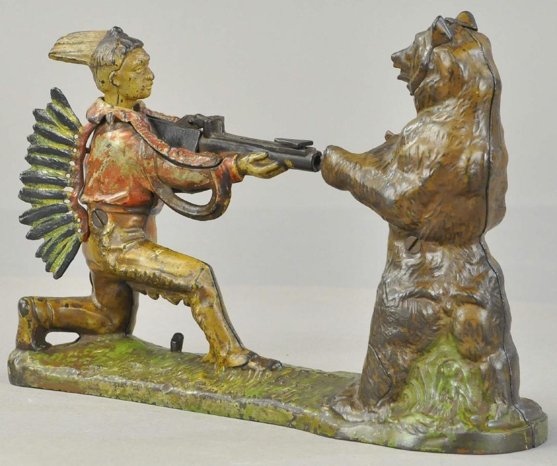 INDIAN SHOOTING BEAR MECHANICAL BANK - 3