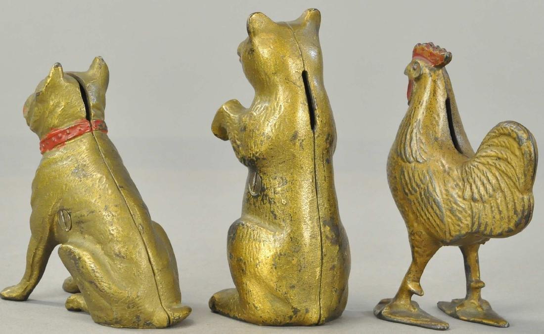 THREE GOLD ANIMAL STILL BANKS - 2