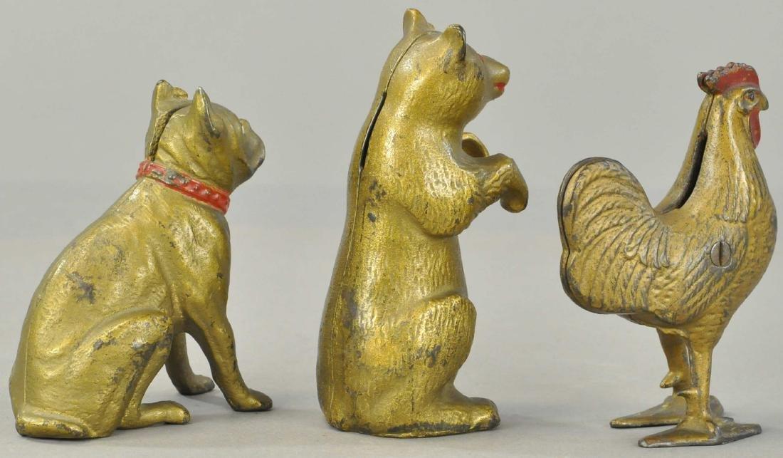 THREE GOLD ANIMAL STILL BANKS - 3