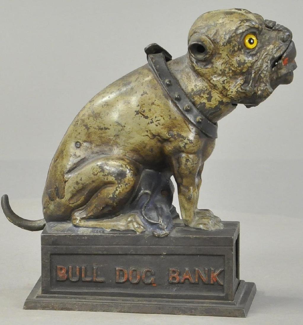 GREY BULL DOG MECHANICAL BANK