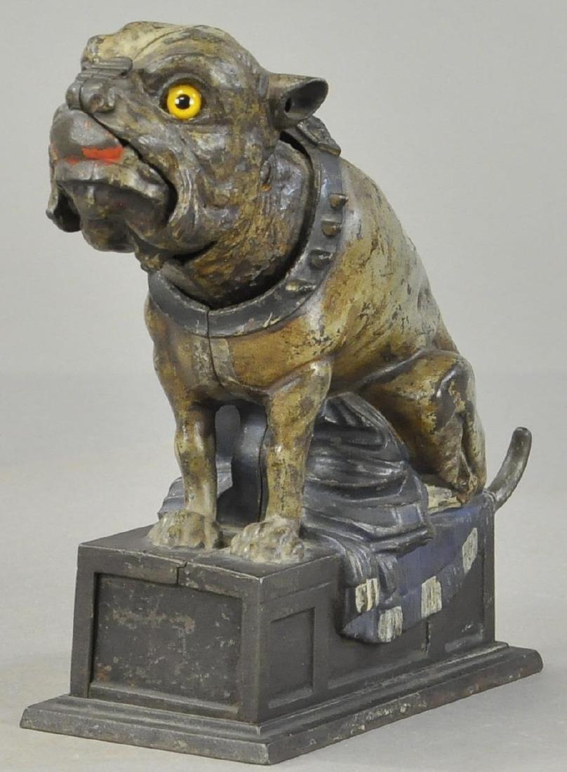 GREY BULL DOG MECHANICAL BANK - 2