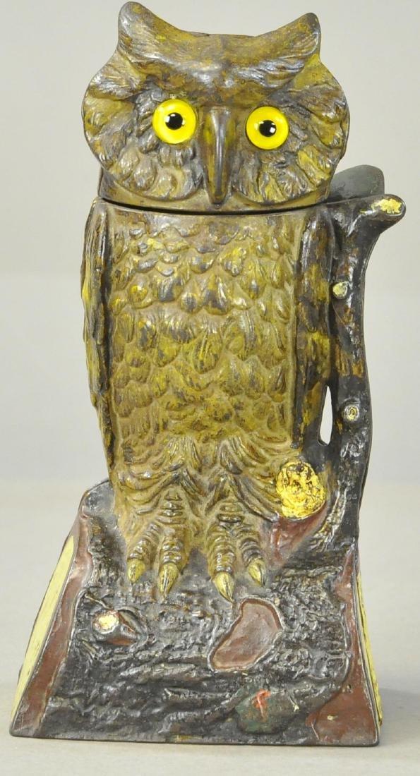 OWL TURNS HEAD MECHANICAL BANK - BROWN