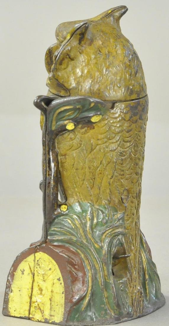 OWL TURNS HEAD MECHANICAL BANK - BROWN - 2