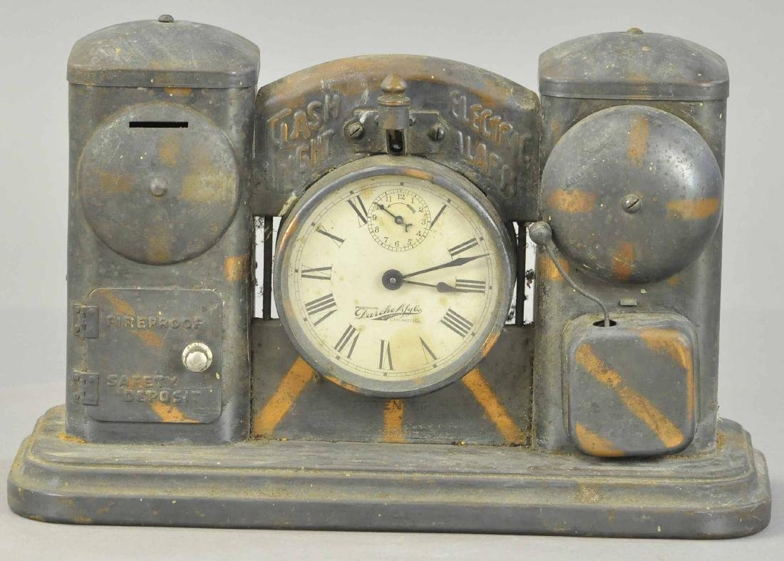 CLOCK FACE AND ELECTRIC ALARM STILL BANK