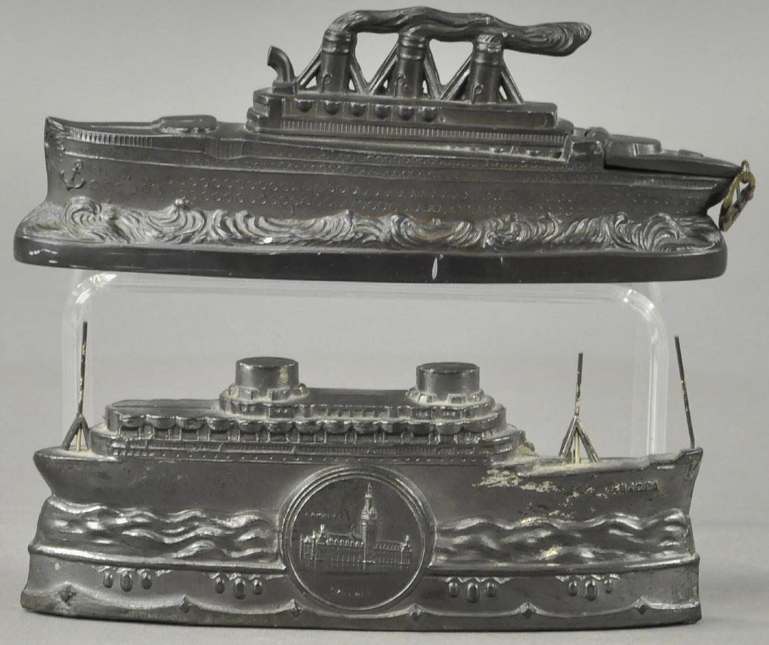 LOT OF TWO SPELTER SHIP BANKS