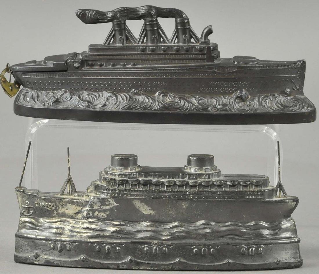 LOT OF TWO SPELTER SHIP BANKS - 2