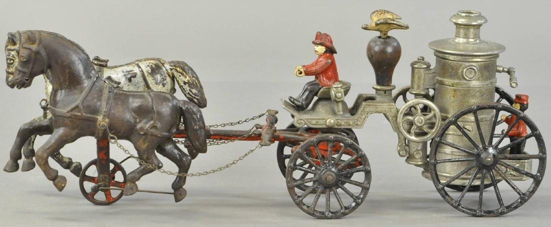 IVES NICKELED HORSE DRAWN FIRE PUMPER
