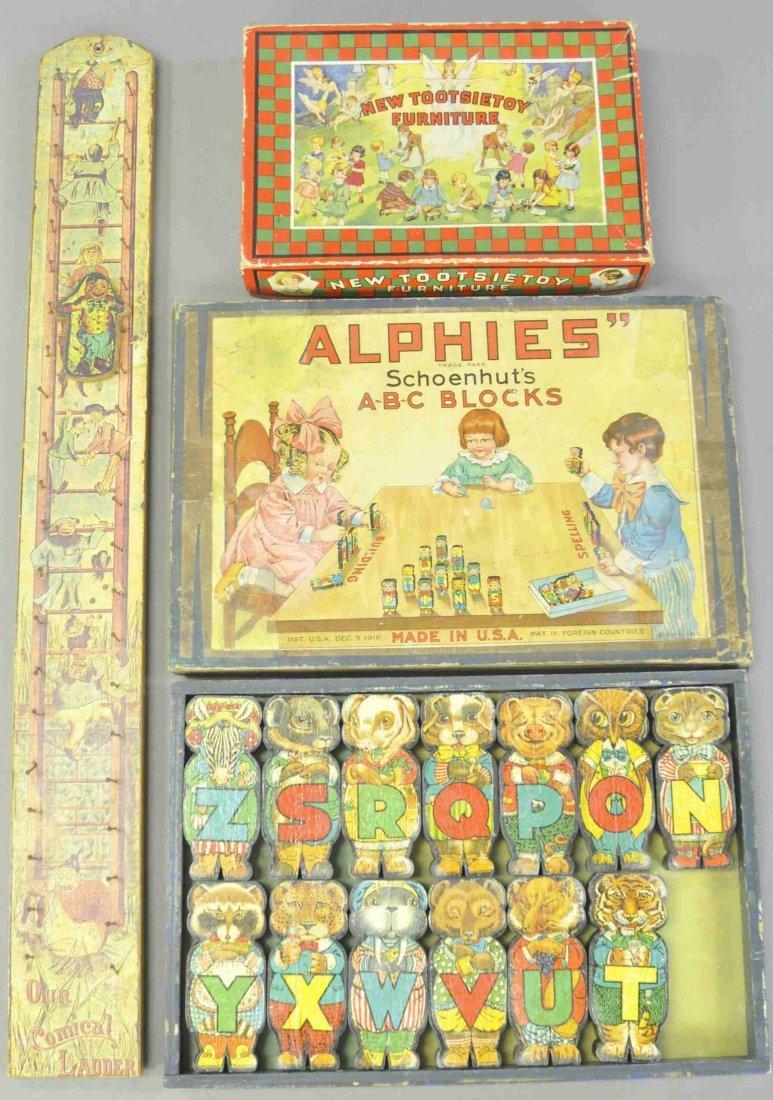 SCHOENHUT ALPHIES W/ TOOTSIE BOX & LADDER