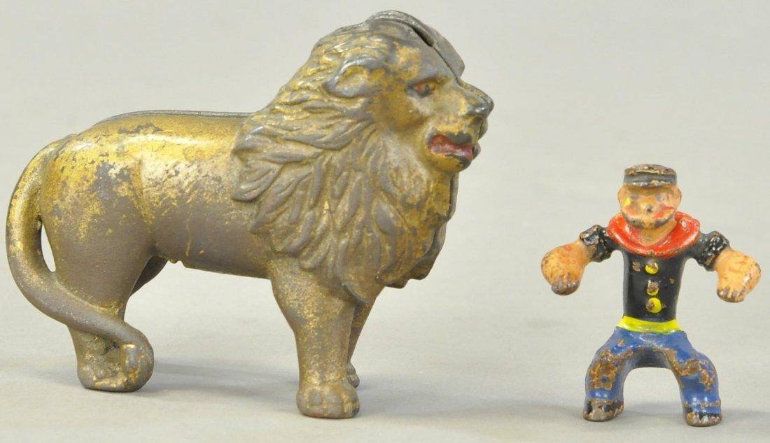 LION STILL BANK & POPEYE FIGURE
