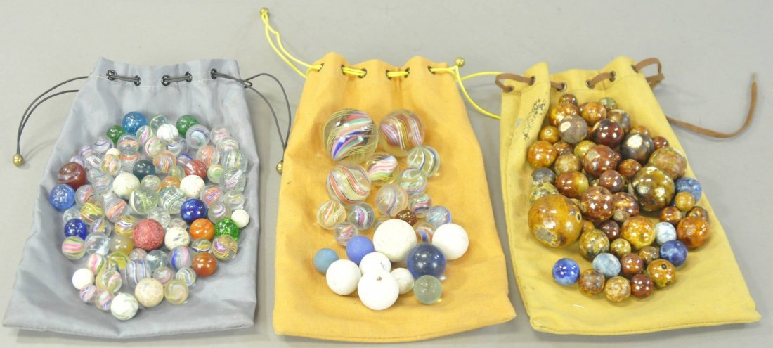 THREE BAGS OF MIXED MARBLES