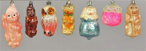GROUPING OF SEVEN ADORABLE ANIMAL ORNAMENTS