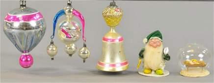 ASSORTMENT OF FIVE CHRISTMAS ORNAMENTS