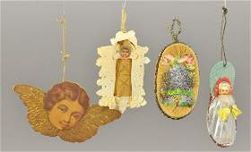 FOUR VICTORIAN CHRISTMAS ORNAMENTS
