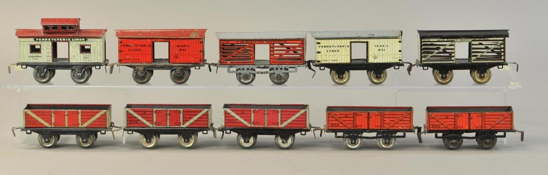LARGE GROUP OF EARLY IVES FREIGHT CARS