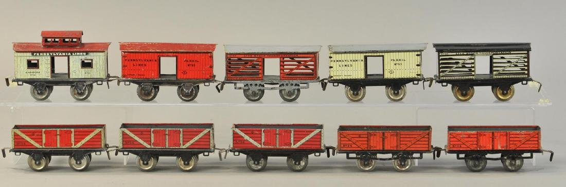 LARGE GROUP OF EARLY IVES FREIGHT CARS - 2