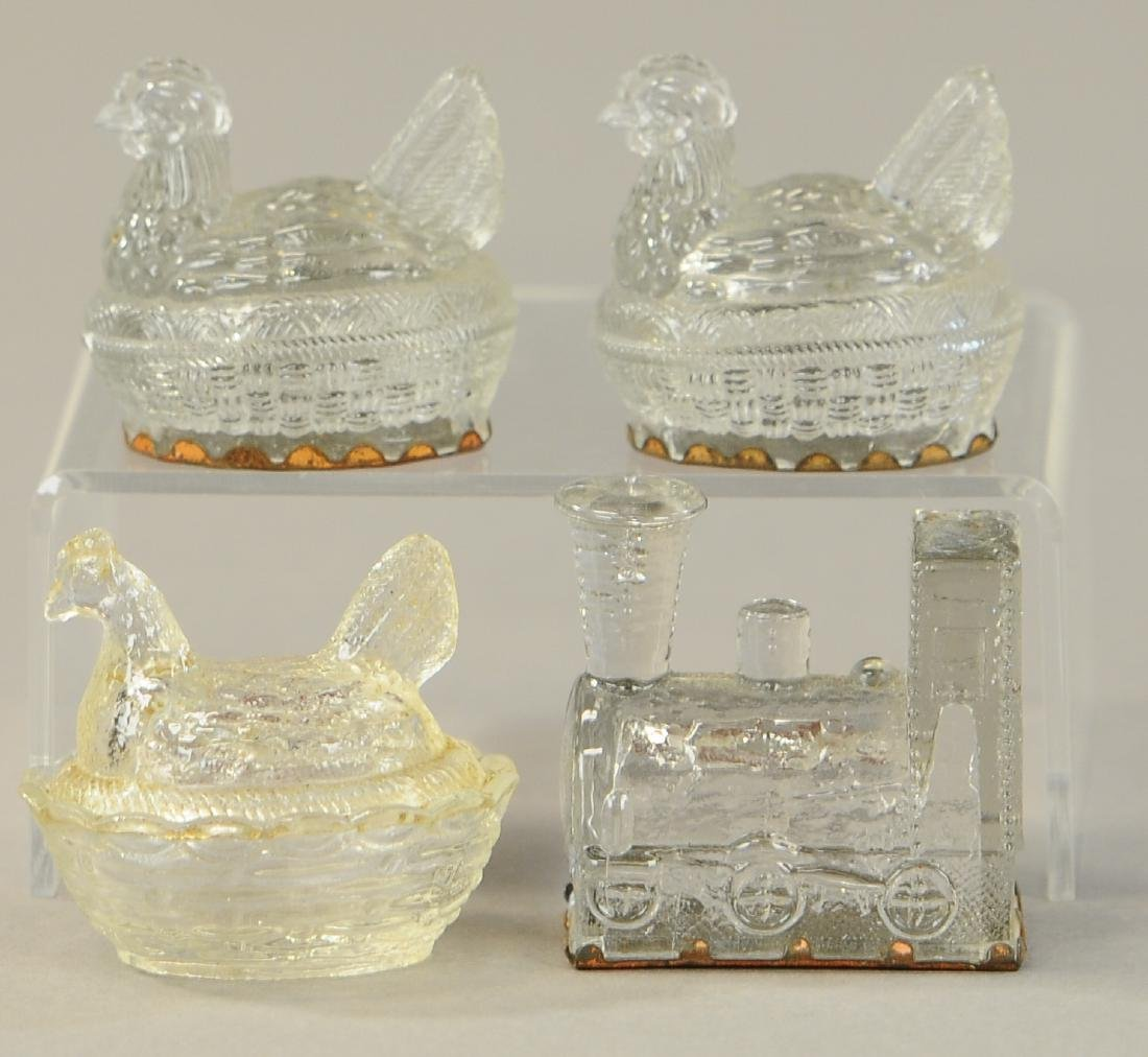 FOUR PIECE GLASS CANDY CONTAINERS - 2