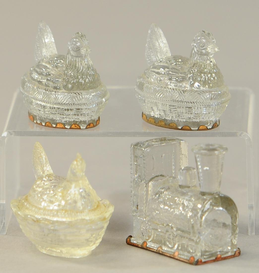 FOUR PIECE GLASS CANDY CONTAINERS - 3
