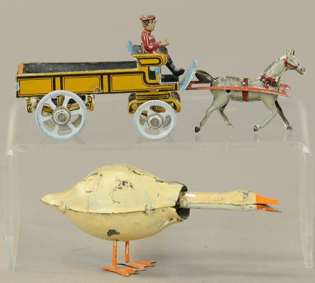 MEIER GOOSE PENNY TOY W/ HORSE CART