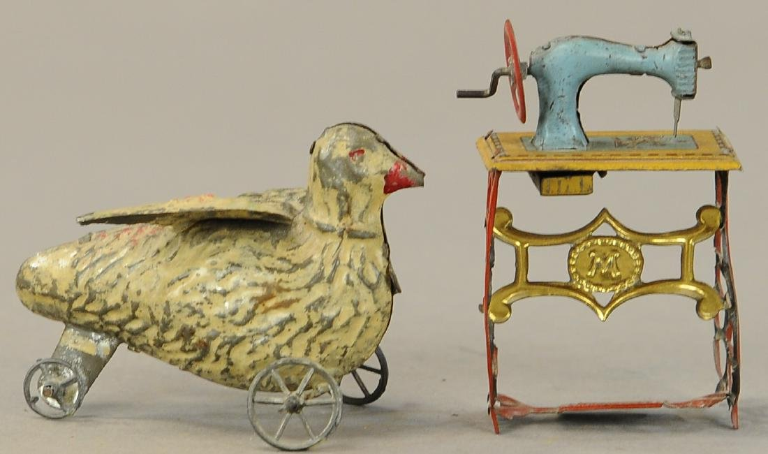 HAND PAINTED DUCK & SEWING MACHINE PENNY TOY