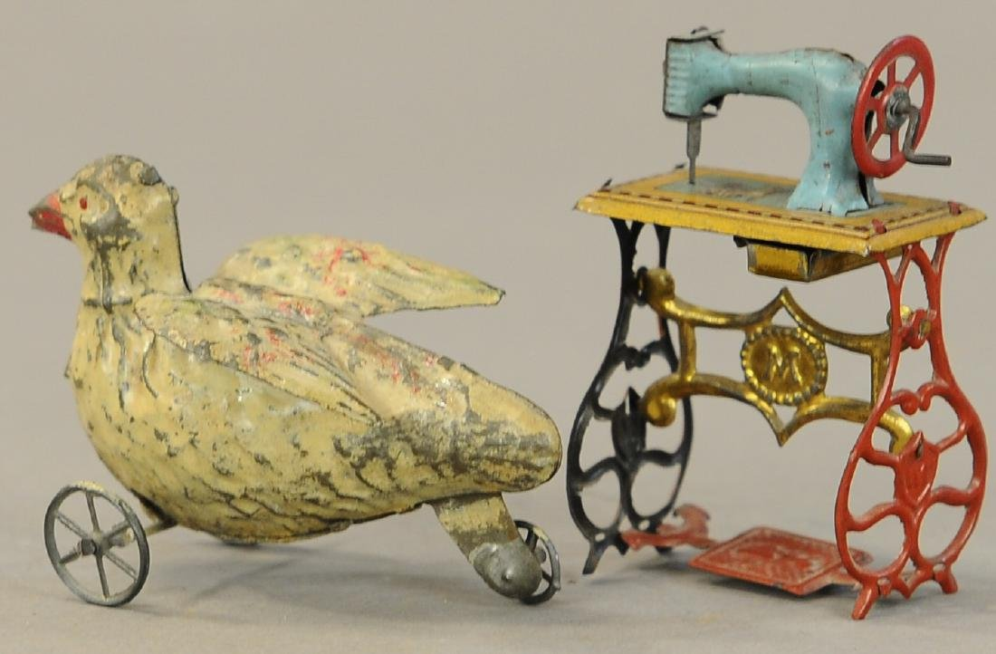 HAND PAINTED DUCK & SEWING MACHINE PENNY TOY - 3
