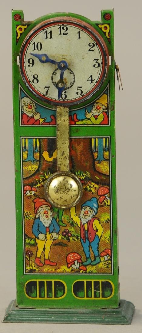 UNUSUAL GERMAN TIN GNOME THEMED CLOCK