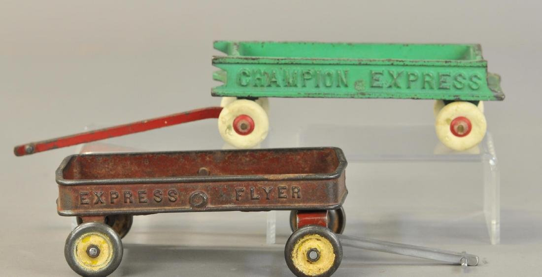 PAIR OF CAST IRON WAGONS - 2