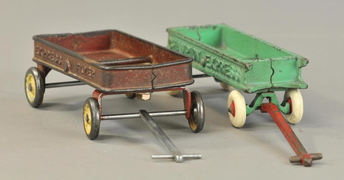 PAIR OF CAST IRON WAGONS - 3