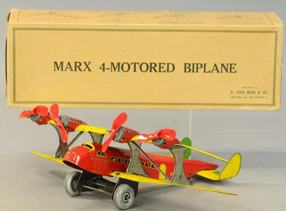 BOXED MARX TWA US MAIL BI-WING AIRPLANE