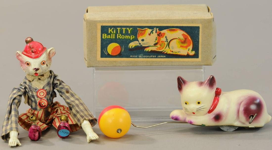 TWO MECHANICAL CELLULOID CAT TOYS