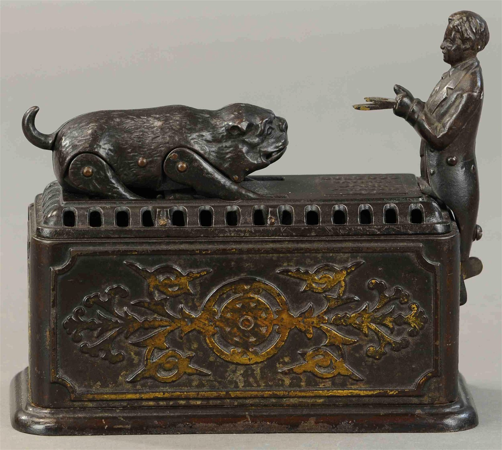 IVES SNAPPING BULL DOG MECHANICAL BANK