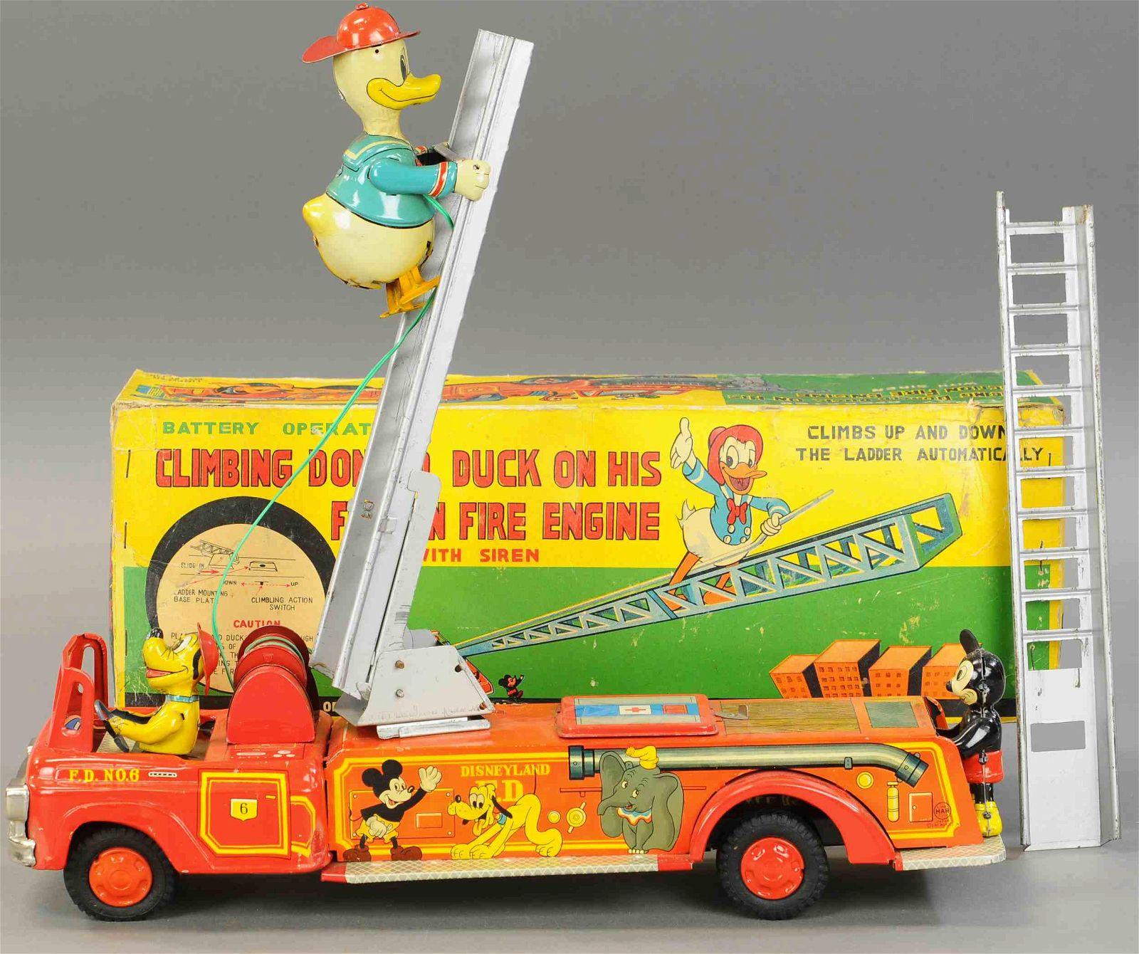 BOXED LINEMAR DONALD DUCK FIRE TRUCK