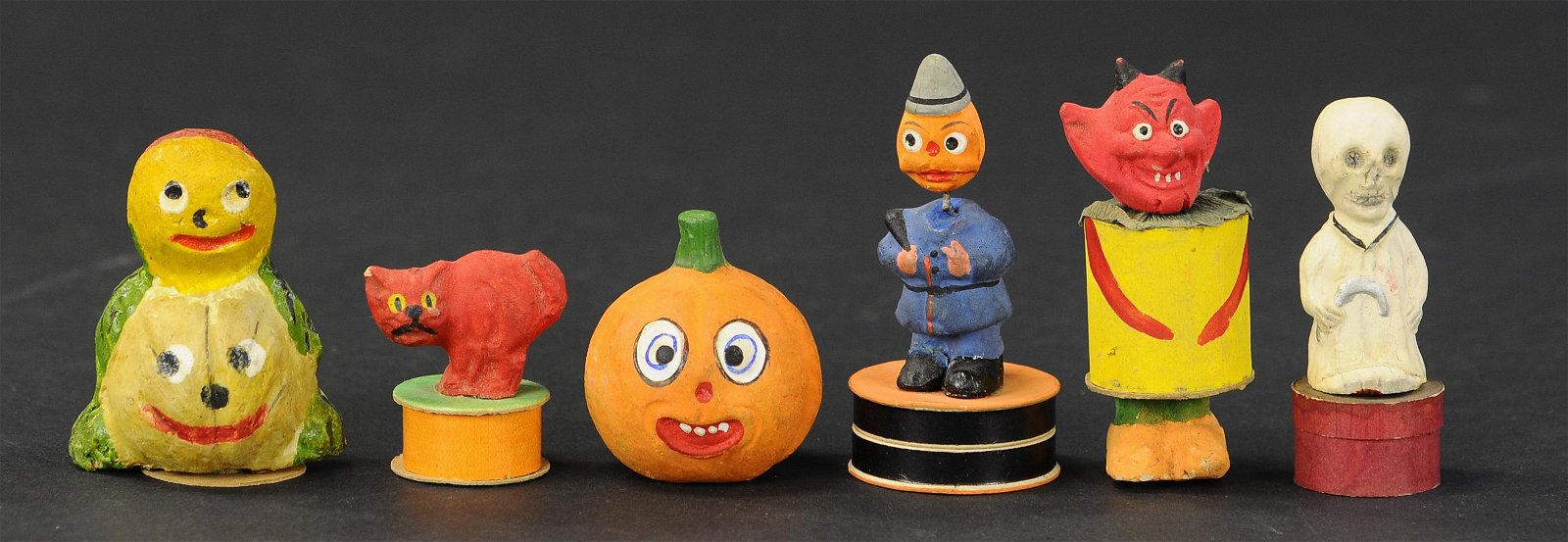 GROUPING OF SIX HALLOWEEN CANDY CONTAINERS
