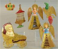 SIX GERMAN DRESDEN CHRISTMAS TREE ORNAMENTS