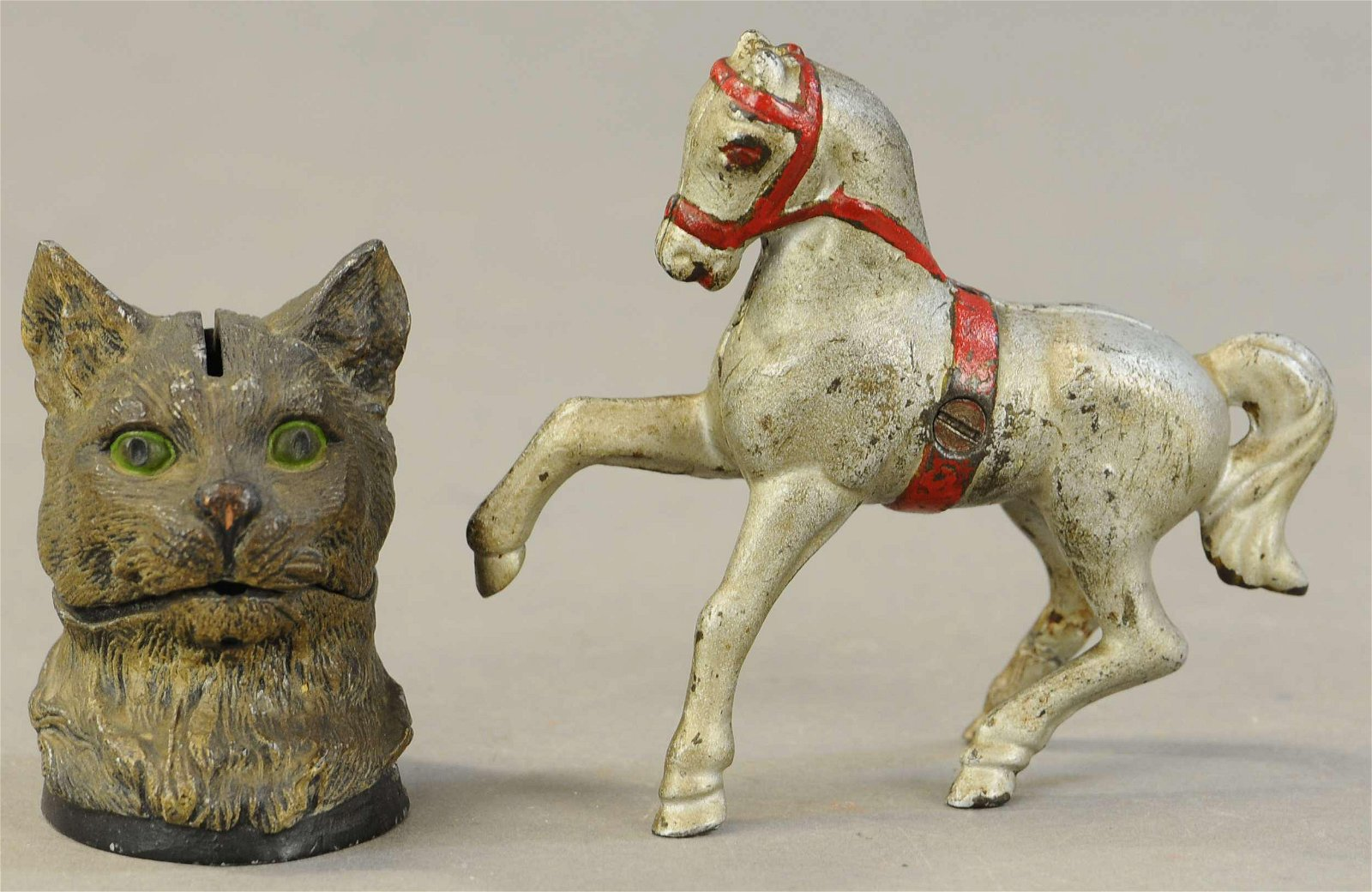 HORSE W/ BELLY BAND & SPELTER CAT STILL BANKS