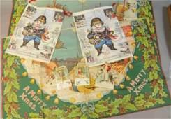 CANVAS CHRISTMAS TREE CARPET, THREE CARDS & TWO SA