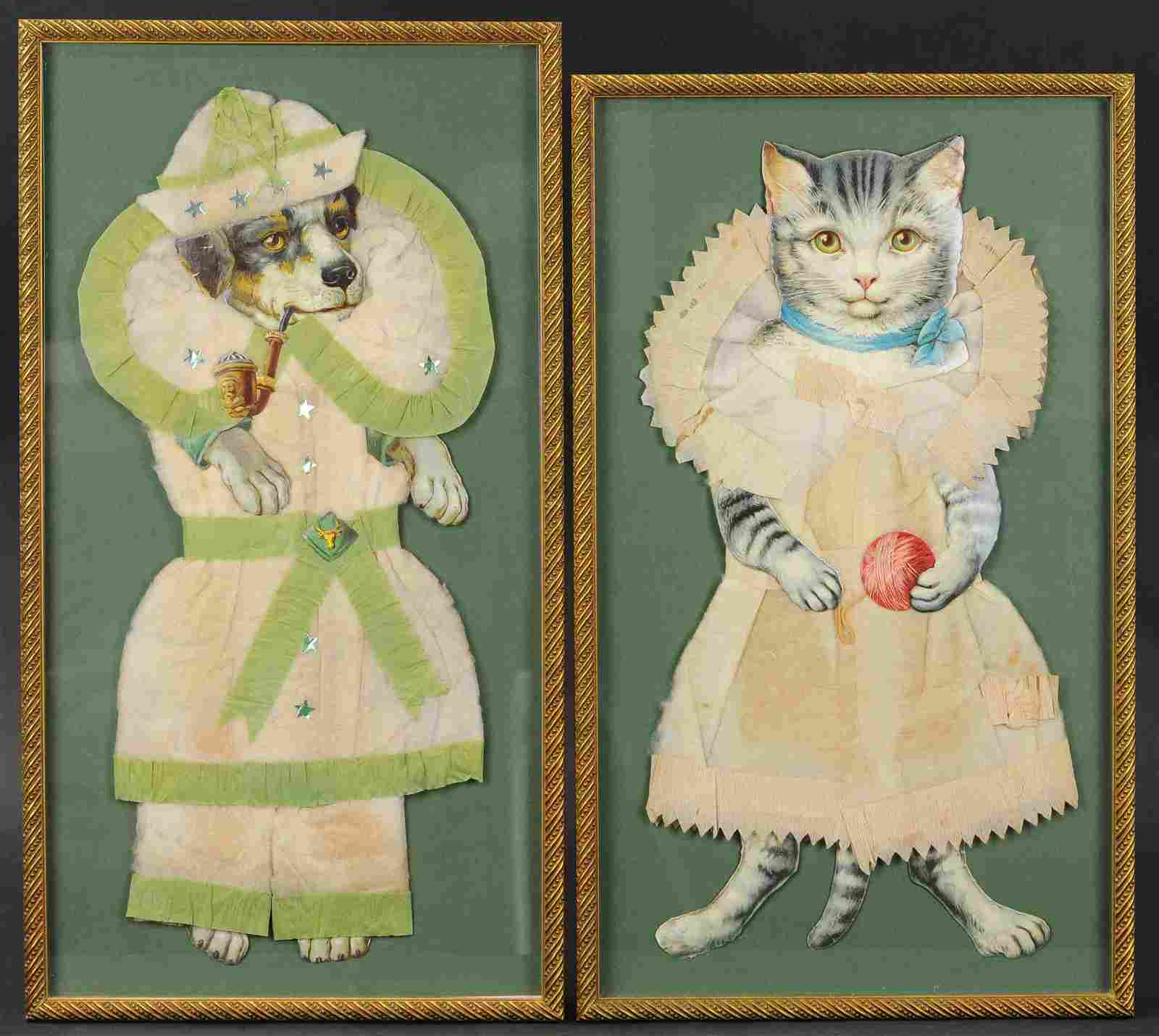 TWO FRAMED COTTON SCRAPS