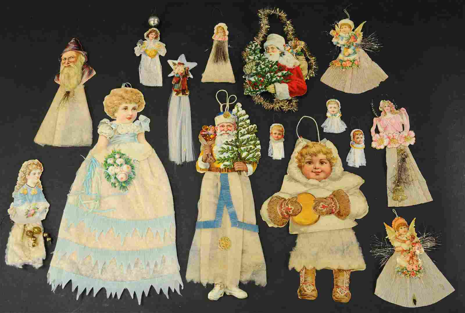 GROUPING OF DIE-CUTS AND COTTON SCRAP ORNAMENTS