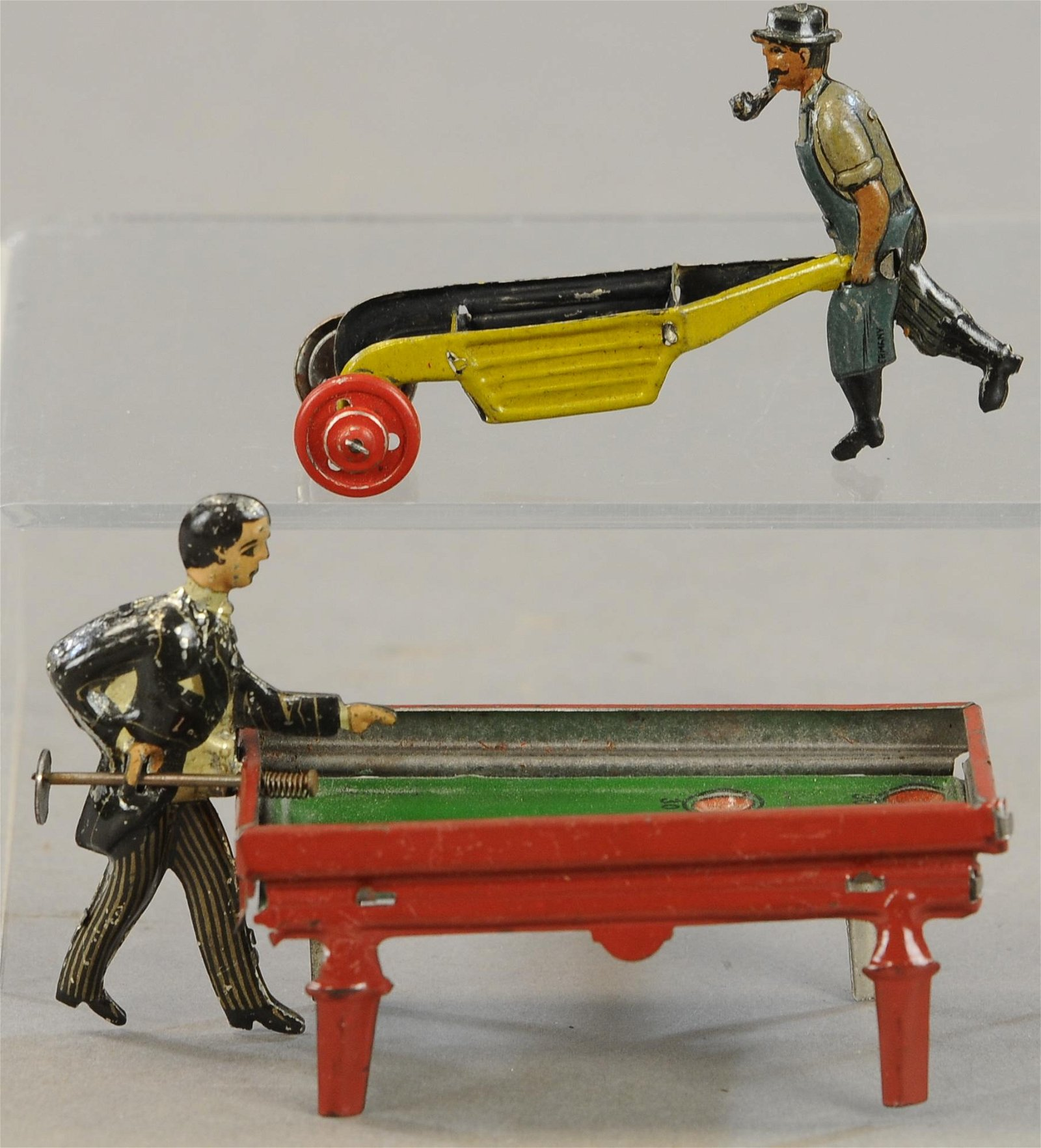 BILLIARD PLAYER & MAN W/ CART PENNY TOYS