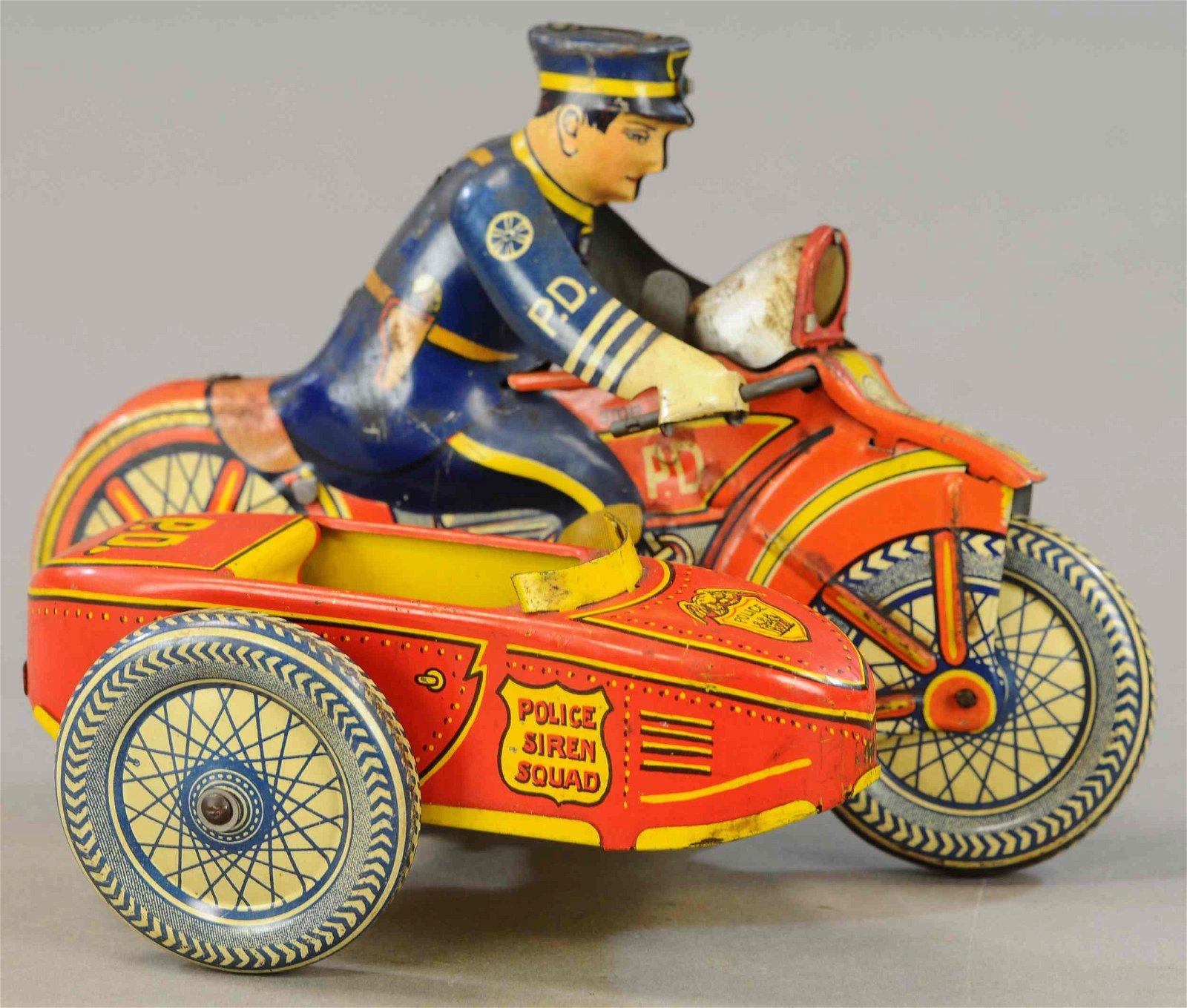 MARX SPARKLING POLICE CYCLE W/ SIDECAR