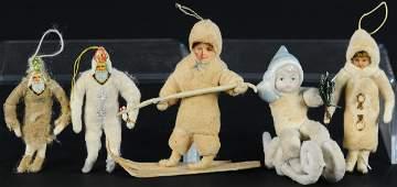FIVE SPUN COTTON CHRISTMAS ORNAMENTS