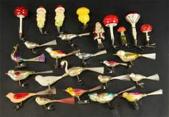 GROUPING OF 27 GLASS CLIPON ORNAMENTS
